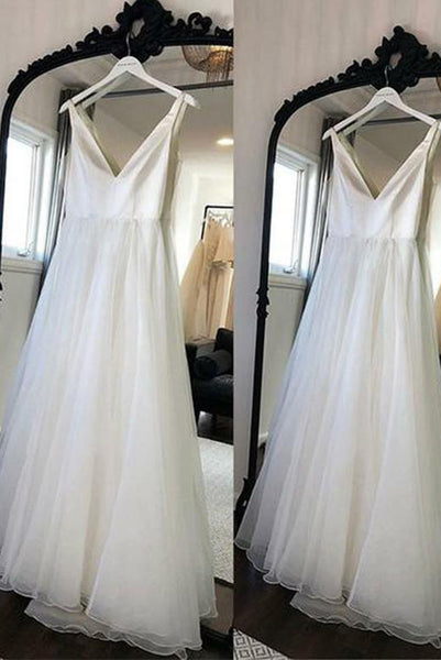 Simple V Neck Beach Wedding Dresses Long White Tulle with Ruffles PDA171 | ballgownbridal