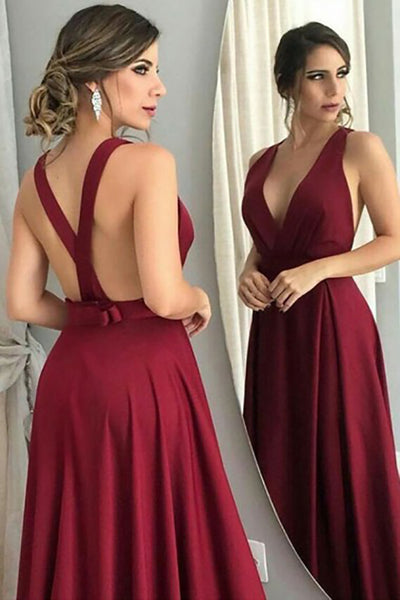 A-Line Deep V-Neck Sweep Train Criss-Cross Straps Burgundy Satin Prom Dress with Bowknot LR229