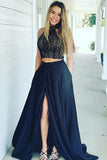Two Piece High Neck Sweep Train Split Navy Blue Satin Prom Dress with Lace LR371