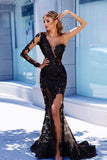 One Shoulder Mermaid Prom Dress Black Lace Long Sleeve Prom Dresses Long Evening Dress PDA428 | ballgownbridal