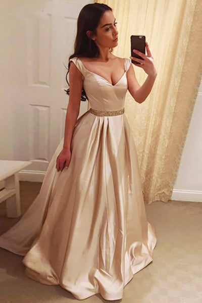 A-Line Square Sweep Train Pearl Pink Satin Backless Prom Dress with Beading LR489 | balgownbridal