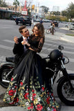 Two Piece Round Neck Long Sleeves Black Floral Satin Prom Dress with Lace Pockets PDA331 | ballgownbridal