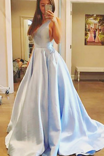 A-Line Deep V-Neck Court Train Light Blue Satin Backless Prom Dress with Pleats LR377 | ballgownbridal