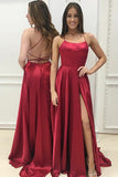 A-Line Halter Sweep Train Split Criss-Cross Straps Red Satin Sleeveless Prom Dress LR333