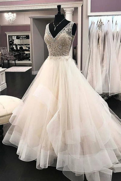 Elegant White Long Wedding Dresses  V Neck Beading with Ruffles PDA157 | ballgownbridal
