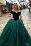 A Line Off the Shoulder Green Tulle Long Prom Evening Dresses PDA006 | ballgownbridal