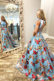 Two Piece Crew Sweep Train Light Blue Printed Organza Prom Dress PDA334 | ballgownbridal