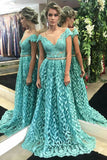 A-Line Crew Cap Sleeves Sweep Train Blue Lace Prom Dress with Beading LR464