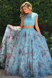 Two Piece Bateau Cap Sleeves Blue Printed Chiffon Prom Dress with Appliques LR243