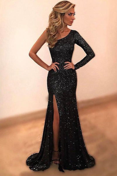 Black Sheath Sweep Train One Shoulder Long Sleeve Side Split Sparkle Prom Dress  AHC553 | ballgownbridal
