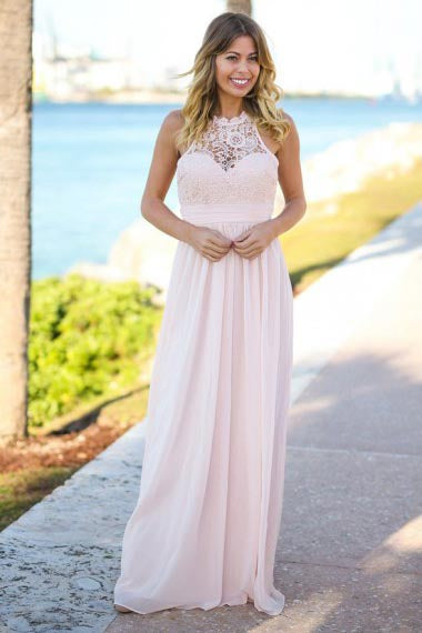 A-Line Jewel Floor-Length Open Back Pink Chiffon Bridesmaid Dress with Lace AHC653 | ballgownbridal
