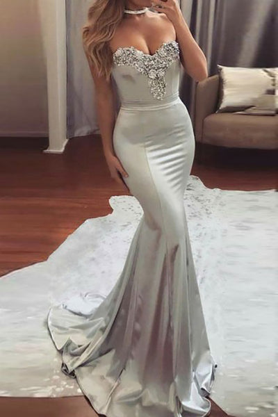 Mermaid Sweetheart Sweep Train Grey Satin Prom Dress with Beading LR424