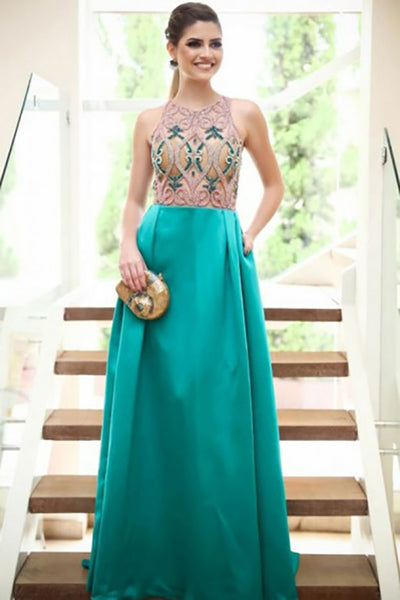 A-Line Jewel Sweep Train Green Satin Prom Dress with Beading Pockets LR406