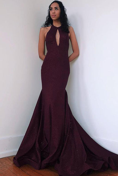 Mermaid Burgundy Prom Dresses 2019 Keyhole with Sweep Train ODA001 | ballgownbridal