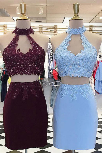 Two-Piece Short Homecoming Graduation Dresses with Appliques PDA071 | ballgownbridal