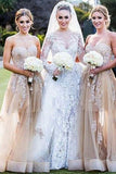 A-Line Sweetheart Floor-Length Champagne Tulle Bridesmaid Dress with Appliques AHC636