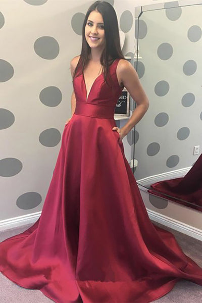 A-Line Deep V-Neck Sweep Train Dark Red Satin Sleeveless Backless Pockets Prom Dress  LR265