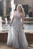 A-Line V-Neck Backless Sweep Train Light Blue Prom Dress with Appliques Beading PDA373 | ballgownbridal