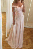 A-Line Off-the-Shoulder Sweep Train Pearl Pink Tulle Prom Dress with Appliques LR318
