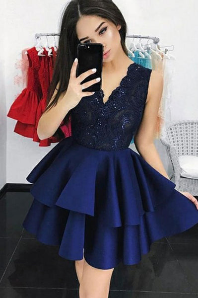 Navy Blue V-neck Sequin Lace Bodice Homecoming Dress with Tiered Skirt ODA014 | ballgownbridal