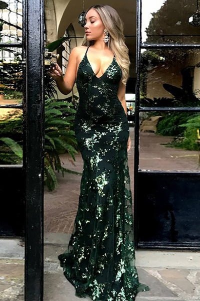 Mermaid Deep V-Neck Sweep Train Criss-Cross Straps Dark Green Sequined Prom Dress LR456 | ballgownbridal