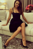 A-Line Square Neck Satin Little Black Semi Formal Party Dress PDA184 | ballgownbridal