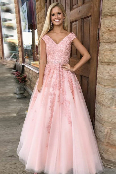 A-Line V-Neck Cap Sleeves Pink Tulle Beaded Appliques Prom Dress PDA467 | ballgownbridal