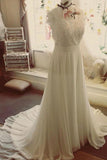 V Neck White Wedding Dresses Cap Sleeves Appliques Sweep Train PDA166 | ballgownbridal