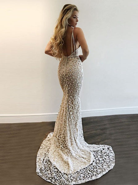 Mermaid V-Neck Sweep Train Silver Lace Prom Dress with Sequins PDA406 | ballgownbridal