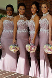 Mermaid High Neck Sweep Train Pink Satin Bridesmaid Dress with Appliques AHC631