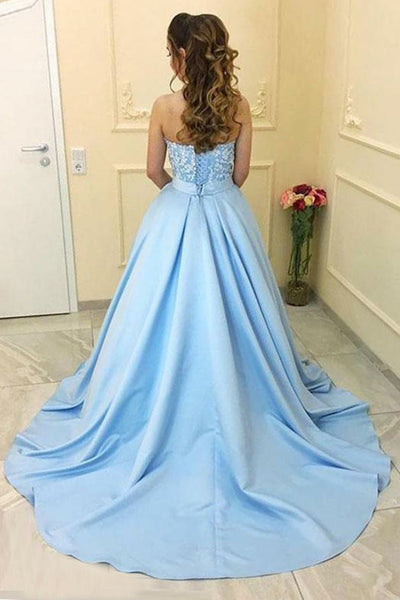 A-Line Sweetheart Court Train Blue Satin Prom Dress with Appliques Pockets LRA364