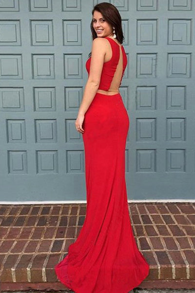 Two Piece Bateau Sweep Train Red Stretch Satin Sleeveless Prom Dress LR61