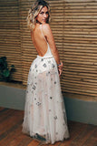 A-Line Crew Floor-Length White Tulle Backless Prom Dress with Appliques LR179