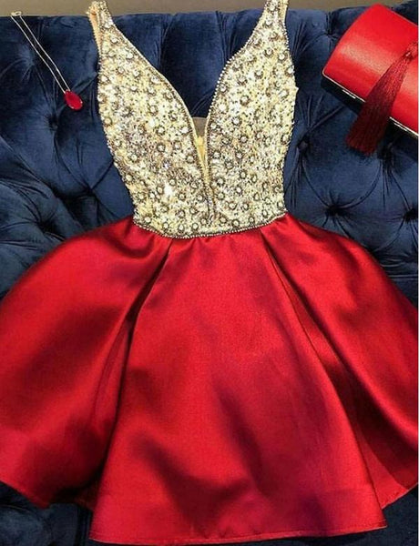 Stylish A Line Deep V Neck Red Short Homecoming Dresses with Beading PDA112 | ballgownbridal