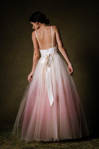 Chic Ombre Prom Dresses Spaghetti Straps A-line Floor-length Long Prom Dress PDA434 | ballgownbridal