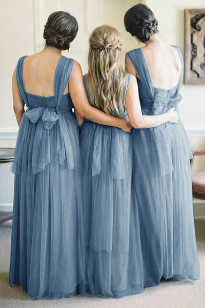 A-Line V-Neck Floor-Length Turquoise Tulle Bridesmaid Dress with Belt AHC650