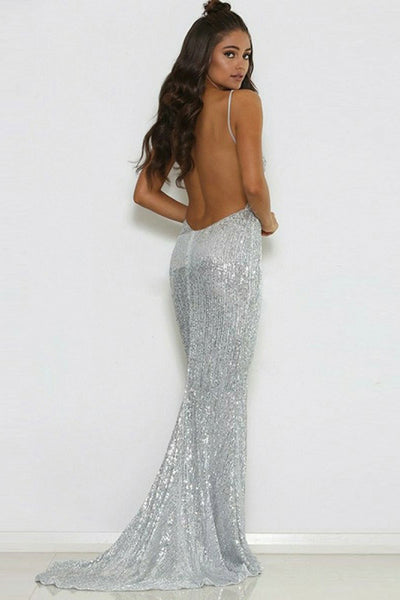 Mermaid Spaghetti Straps Sweep Train Silver Sequined Backless Sleeveless Prom Dress LR221