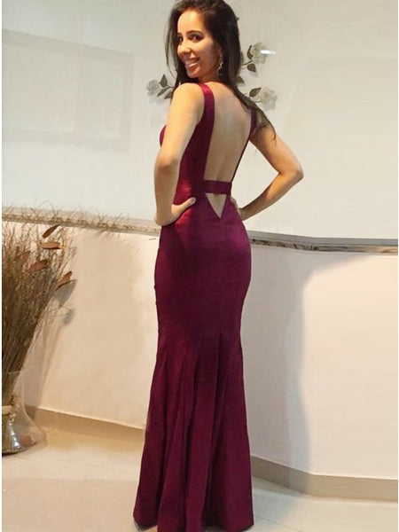 Mermaid Deep V-Neck Backless Floor-Length Dark Red Prom Dress PDA302 | ballgownbridal