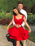 Cute A Line Off the Shoulder Red Short Homecoming Dresses Ruffles PDA099 | ballgownbridal