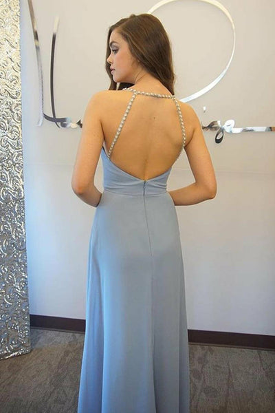 A-Line Spaghetti Straps Light Sky Blue Open Back Prom Dress with Beading LR491 | ballgownbridal