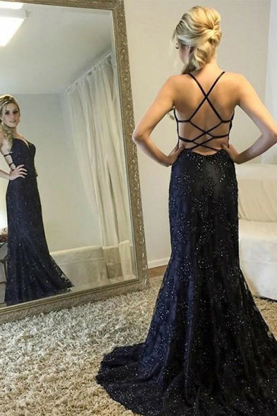 Mermaid Deep V-Neck Sweep Train Criss-Cross Straps Black Sequined Prom Dress LR303