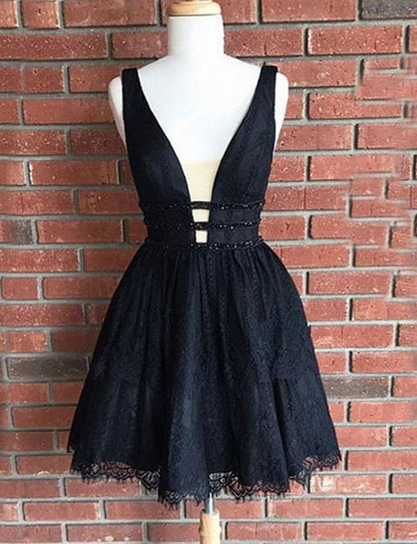 A-Line Deep V-Neck Short Black Lace Homecoming Cocktail Dress with Beading PDA084 | ballgownbridal