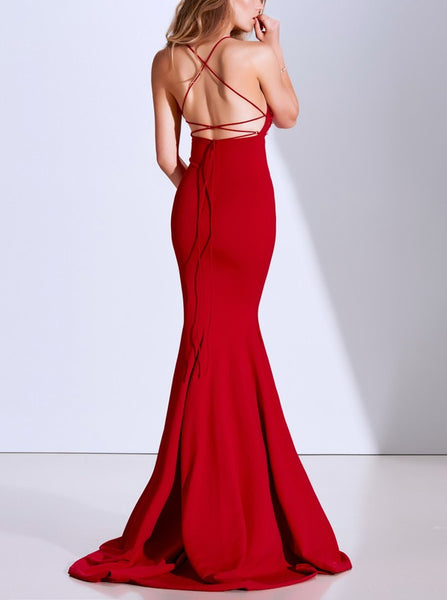 Mermaid Spaghetti Straps Backless Sweep Train Red Prom Dress with Appliques Beading PDA411 | ballgownbridal