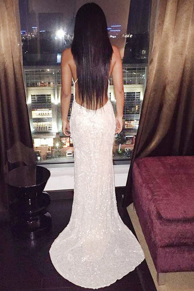 Mermaid Deep V-Neck Sweep Train Criss-Cross Straps Ivory Sequined Prom Dress AHC693 | ballgownbridal
