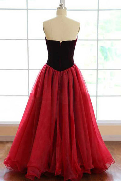 Ball Gown Sweetheart Sweep Train Burgundy Tulle Pleated Prom Dress AHC525