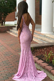Mermaid Deep V-Neck Sweep Train Pink Lace Backless Prom Dress LR422