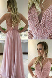 A-Line V-Neck Sweep Train Criss-Cross Straps Pink Chiffon Prom Dress with Beading LR452