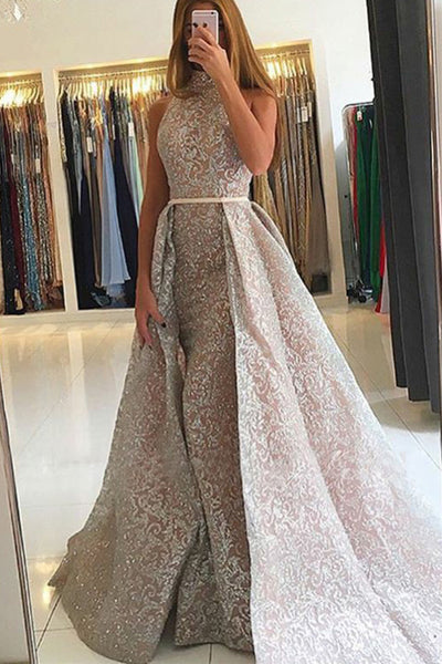 Mermaid High Neck Detachable Train Champagne Lace Sleeveless Prom Dress LR177