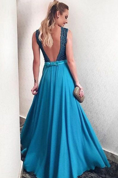 A-Line Deep V-Neck Blue Chiffon Backless Prom Dress with Appliques LR463