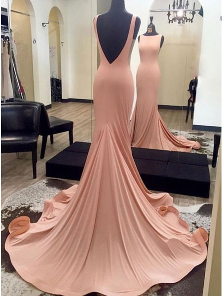 Mermaid Bateau Backless Sweep Train Pink Elastic Satin Prom Dress PDA294